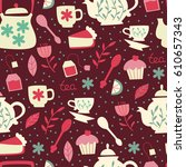 seamless pattern with tea... | Shutterstock .eps vector #610657343