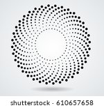 halftone dots in circle form.... | Shutterstock .eps vector #610657658