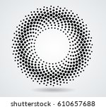 halftone dots in circle form.... | Shutterstock .eps vector #610657688