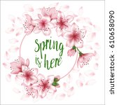 spring is here vector card or... | Shutterstock .eps vector #610658090