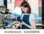barista prepare coffee working... | Shutterstock . vector #610658858