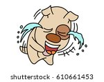 cute dog crying. vector... | Shutterstock .eps vector #610661453