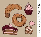 hand drawn donut  bagel ... | Shutterstock .eps vector #610661954