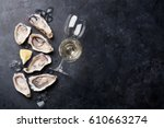 opened oysters  ice and lemon... | Shutterstock . vector #610663274