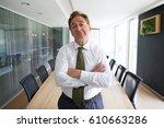 skeptical senior businessman... | Shutterstock . vector #610663286
