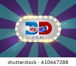 the word 3d cinema  surrounded... | Shutterstock .eps vector #610667288