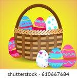 basket full of colorful... | Shutterstock .eps vector #610667684