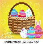 basket full of colorful... | Shutterstock .eps vector #610667720