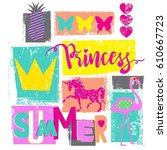cute print for girls. summer... | Shutterstock .eps vector #610667723