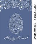 stock vector easter doodle egg. ... | Shutterstock .eps vector #610668680