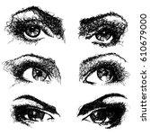 hand drawn set of woman black... | Shutterstock .eps vector #610679000