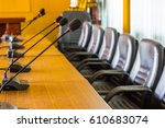 microphone in conference room | Shutterstock . vector #610683074