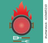 barbecue and grill banner. bbq... | Shutterstock .eps vector #610685210