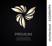 golden flower shape. gradient... | Shutterstock .eps vector #610686494