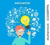 man with  bulb and science... | Shutterstock .eps vector #610688996