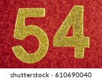 Small photo of Number fifty-four blue over a yellow background. Anniversary. Horizontal