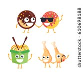 fast food characters   modern... | Shutterstock .eps vector #610698188