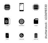 smartphone specification flat... | Shutterstock .eps vector #610698530