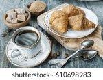light breakfast consisting of a ... | Shutterstock . vector #610698983