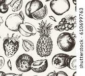seamless pattern fruits  vector ... | Shutterstock .eps vector #610699763