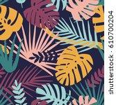 tropical plants in jungle... | Shutterstock .eps vector #610700204