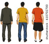 man standing backside view   Shutterstock .eps vector #610702700