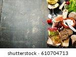 tasty rye bread sandwiches with ... | Shutterstock . vector #610704713