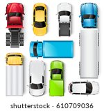 cars and trucks top view... | Shutterstock . vector #610709036