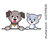 Stock vector cartoon dog cat animal frame border 610709828