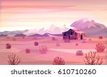 landscape with mountains and... | Shutterstock .eps vector #610710260