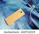 label price tag mockup on blue... | Shutterstock . vector #610712219