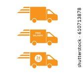 delivery icon set orange color... | Shutterstock .eps vector #610713878
