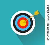 vector flat icon. arrow hitting ... | Shutterstock .eps vector #610715366