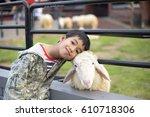 kids love sheep | Shutterstock . vector #610718306