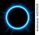 rounded blue light illuminated  ... | Shutterstock .eps vector #610720199