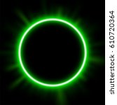 rounded green light illuminated ... | Shutterstock .eps vector #610720364