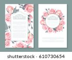 Stock vector vector botanical banners with pink roses vertical design for wrapping paper soap beauty salon 610730654