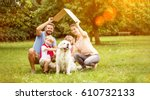 Family with roof over their heads as house construction goal concept - stock photo