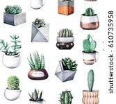 cactus tropical houseplant... | Shutterstock . vector #610735958