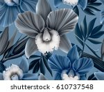 seamless tropical flower  plant ... | Shutterstock . vector #610737548
