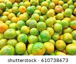 orange fruit top view | Shutterstock . vector #610738673