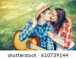 a beautiful  loving couple in... | Shutterstock . vector #610739144