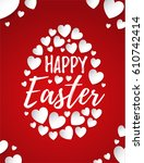 happy easter greeting card with ...   Shutterstock .eps vector #610742414