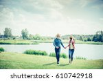 a beautiful  loving couple in... | Shutterstock . vector #610742918