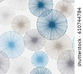 seamless pattern of dandelion... | Shutterstock .eps vector #610744784