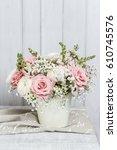 bouquet of roses  matthiolas... | Shutterstock . vector #610745576