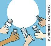 few hands of journalists with... | Shutterstock .eps vector #610746950