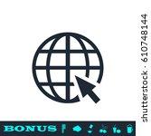 globe web icon flat. simple... | Shutterstock . vector #610748144