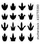 black footprints of dinosaurs...   Shutterstock .eps vector #610755380