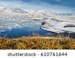 jokulsarlon lake full of ice... | Shutterstock . vector #610761644